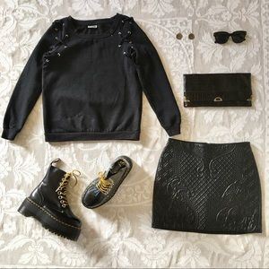 Divided H&M embossed black vegan leather miniskirt